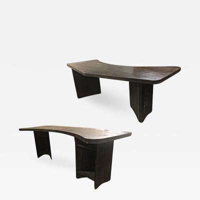 Charlotte Perriand Charlotte Perriand style brutalist sand blasted dark pine desk
