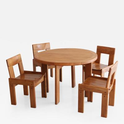 Charlotte Perriand Dining Table and Chairs in Style of Charlotte Perriand