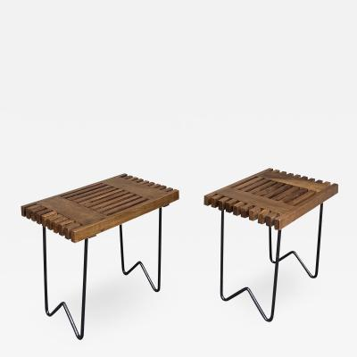 Charlotte Perriand Mid Century Wood and Metal Stools Italy 1950s