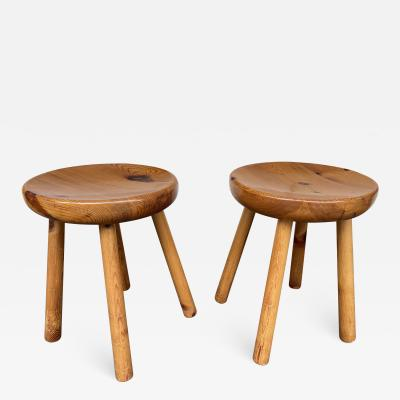 Charlotte Perriand Pair of Pine Stool Attributed to Charlotte Perriand France 1960s