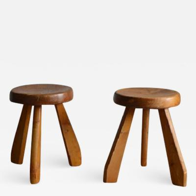 Charlotte Perriand Pair of Three Legged Stool C Perriand