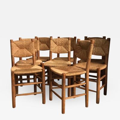 Charlotte Perriand Set of 8 Bauche Model n 19 Chairs France 1950s
