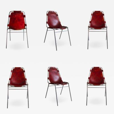 Charlotte Perriand Six chair set by Charlotte Perriand