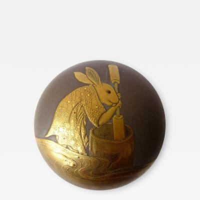 Charming 18th C Japanese Lacquer Kogo with Rabbit Pounding Mochi
