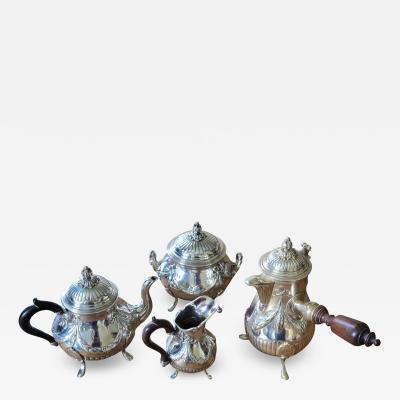 Charming Antique Silver Selfish Coffee Tea Set By L on Lapar