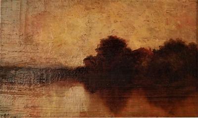 Charming Barbizon School Oil On Panel Of A Sunset