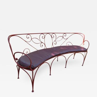 Charming Curved Scrolled Iron Garden Patio Bench