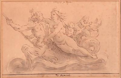 Charming Drawing Of Neptune and Amphitrite By Lafage