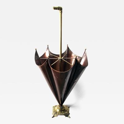 Charming French Copper and Brass Umbrella Stand w DogHhead Handle