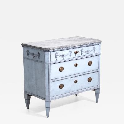 Charming Gustavian style chest richly carved 19th C