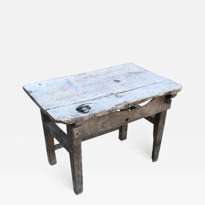 Charming Hacienda Vintage Work Table in Rustic Edge Mexican Mesquite Wood 1940s
