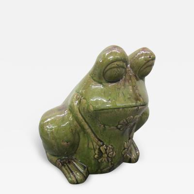Charming Large Green Glaze Pottery Frog Planter Mid Century Modern