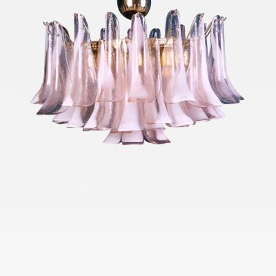 Charming Pink and White Murano Petals Chandelier or Ceiling Light