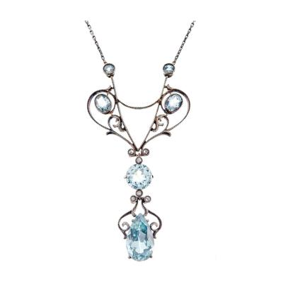 Charming Victorian Aquamarine Rose Cut Diamond Lavaliere