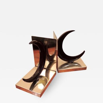 Chase Crescent Moon Bakelite and Brass Bookends