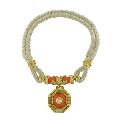 Chaumet Paris Coral and Diamond Gold Necklace
