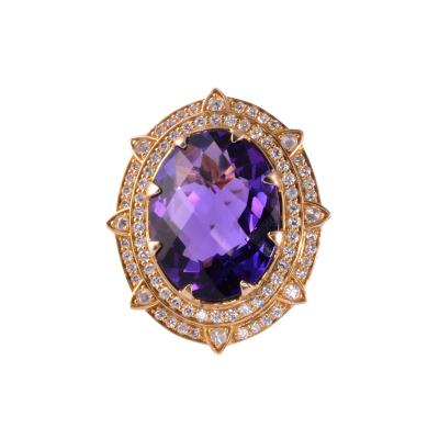 Checkerboard Cut Amethyst Diamond Cocktail Ring Size 7