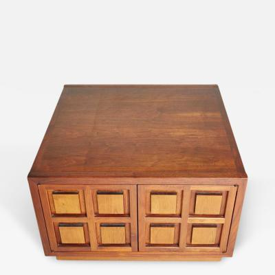 Cherrywood Side Cabinet with Carved Square Relief Panels circa 1960