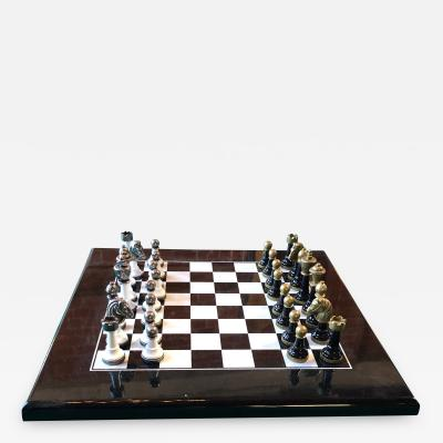 Chess Set and Chess Board in Plexiglass and Metal Italy 1970s