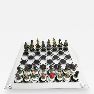 Chess Set with Painted Lead Medieval Figures on Lucite Board