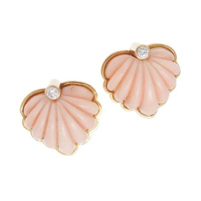 Chic Angel Skin Coral Scallop Diamond Gold Earrings
