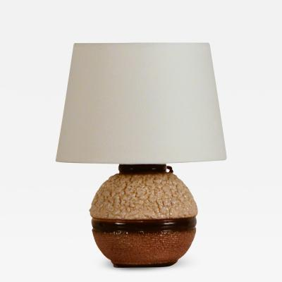 Chic Art Deco Boule Textured Ceramic Lamp