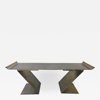 Chic Custom Steel and Bronze Bench after Maria Pergay