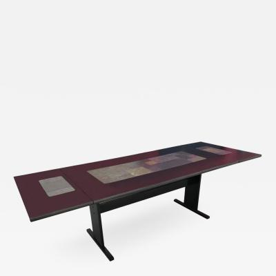 Chic Ebonized Slate Tile Topped Danish Dining Table