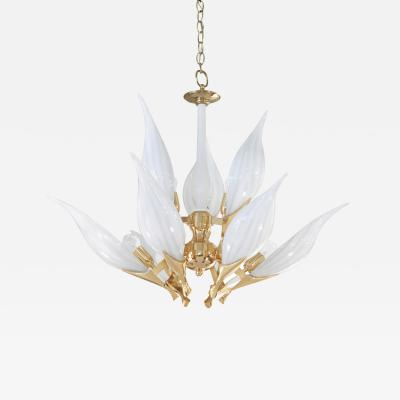 Chic Glass Florwer Chandelier with Gold Plated Hardware