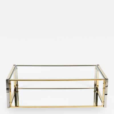Chic Mixed Metal and Glass Cocktail Table