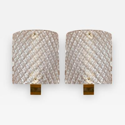 Chic Pair of Murano Demilune Wall Lights Contemporary
