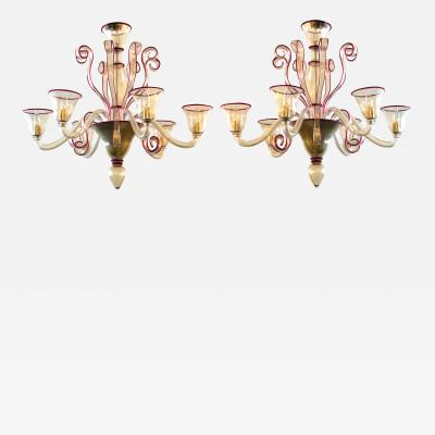 Chic Pair of Murano Gold aventurine 6 light Chandeliers with Ruby red Edging