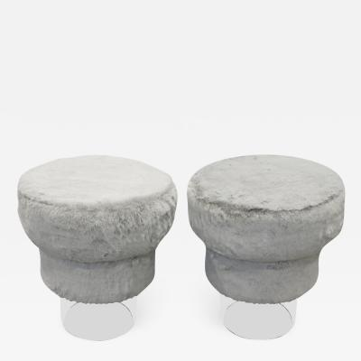 Chic Pair of Newly Upholstered Benches with Lucite Bases 1970s