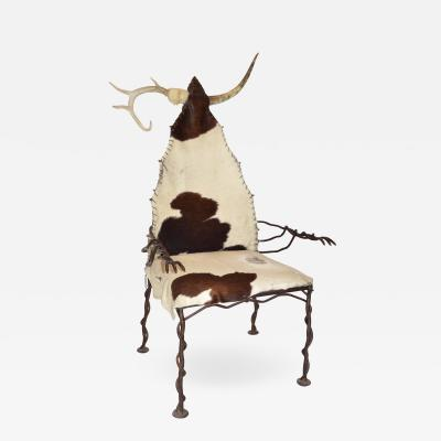 Chieftan Chair in Wrought Iron Horn Antler and Cow Hide Unique