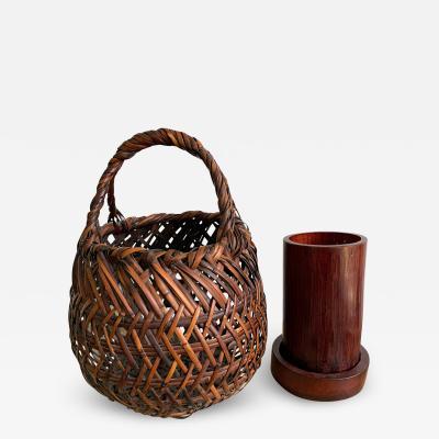 Chikuryosai I Yamamoto Japanese Bamboo Ikebana Basket by Yamamoto Chikuryosai I Shoen
