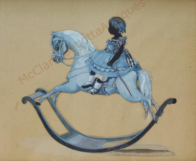 Child Riding Rocking Horse Side Saddle