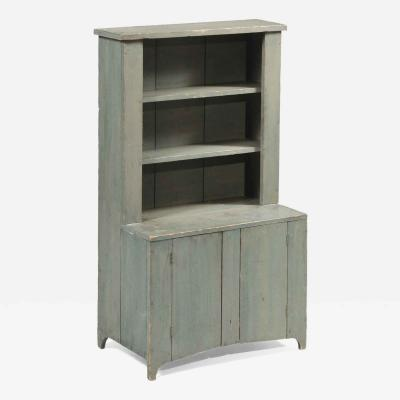 Child Size Painted Step Back Cupboard Pennsylvania Circa 1840