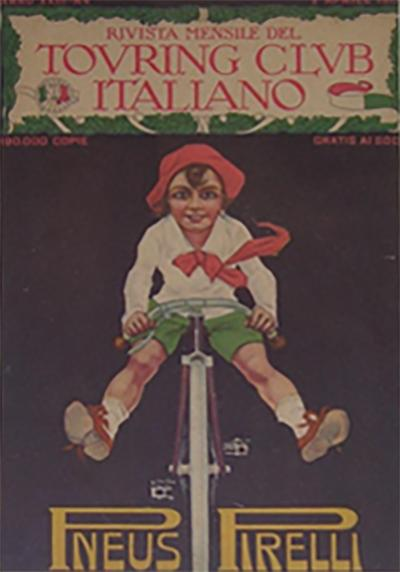 Child on Bike 1917 Advertisement in Colors for Pirelli Tires