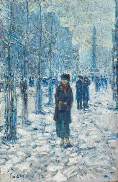 Childe Hassam Kitty Walking in the Snow