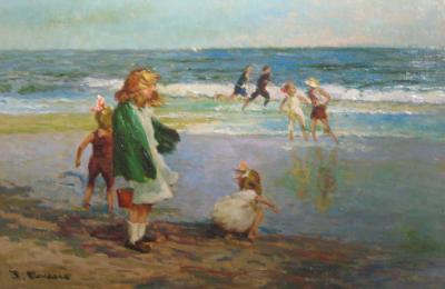 Children at the Beach Oil Painting in Gilt Frame by J Deau