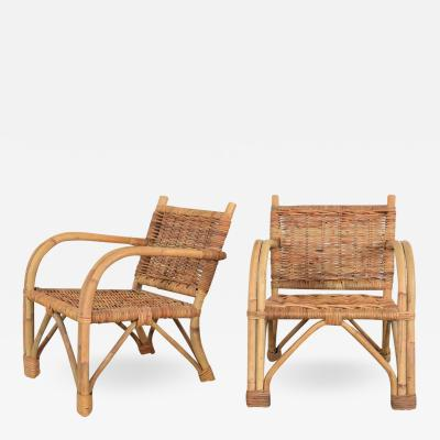 Children s rattan wicker chairs with bent arms vintage pair