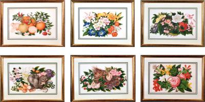 China Trade Gouache Still Life of Fruit Flowers on Pith Paper Signed Sunqua