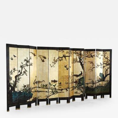 Chinese 12 Panel Double Sided Gold Black Lacquered Coromandel Screen