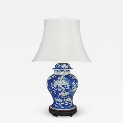 Chinese Antique Blue White Prunus Lamp