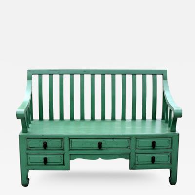 Chinese Antique Green Bench Garden Bench