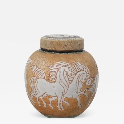 Chinese Art Deco Prancing Horses Motif Porcelain Covered Jar or Urn