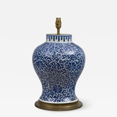 Chinese Blue White Porcelain Vase Lamp Circa 1880
