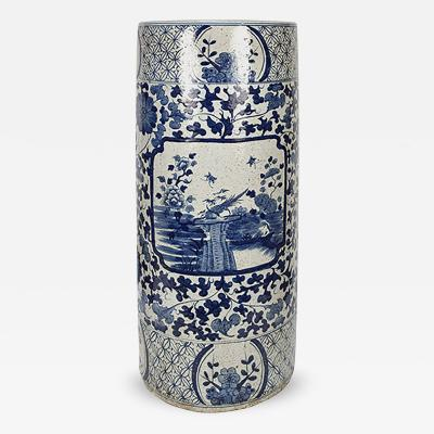 Chinese Blue And White Scroll Umbrella Vase