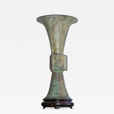 Chinese Bronze Beaker Gu Vase
