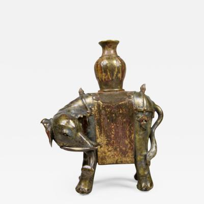 Chinese Bronze Elephant with traces of gilt polychrome